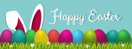 Happy Easter Concept Banner - Colorful Vector Illustration With Eggs, Grass And Bunny Ears - Isolated On Blue Background