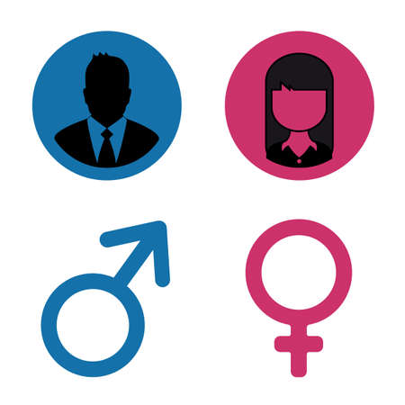 Male And Female Concept Icons - Vector Illustration Symbols Isolated On White Background 向量圖像