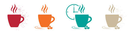 Coffee Concept Icons - Colorful Vector Illustrations Set - Isolated On White Background