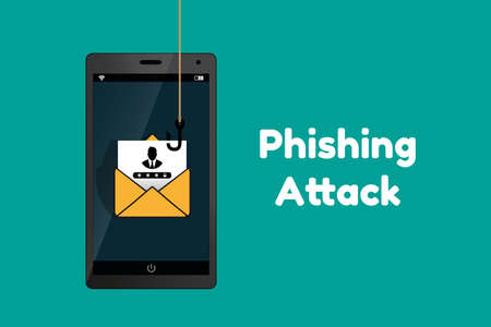 Data Phishing Hacking Scam Concept - Technology Vector Illustration - Isolated On Monochrome Background