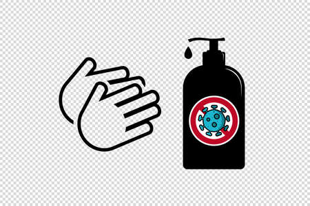 Hand Sanitizer Anti Virus Lotion Bottle - Vector Illustration Isolated On Transparent Background