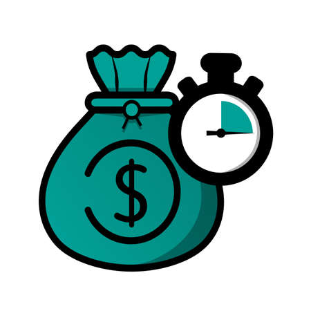 Time Is Money Concept - Vector Illustration Isolated On White Background 向量圖像