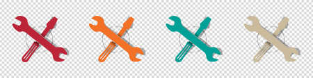 Tool Icons. Colorful Vector Illustrations Set Isolated On Transparent Background