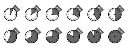 Different Timer Icons. Vector Illustrations Set Isolated On White Background