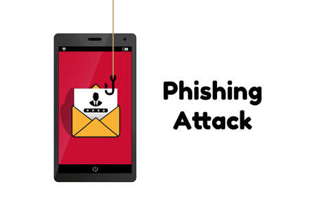 Data Phishing Hacking Scam Concept - Technology Vector Illustration - Isolated On White Background