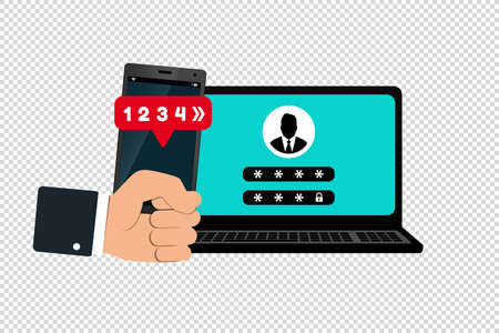 Two Factor Or Multi Factor Authentication Concept - Smartphone And Laptop Vector Illustrations - Isolated On Transparent Background