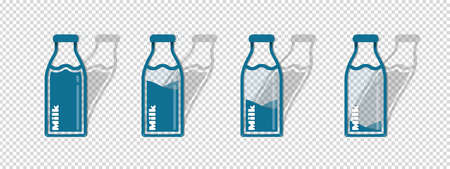 Different Milk Bottle Icons - Vector Illustrations Set - Isolated On Transparent Background