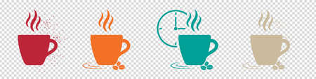 Coffee Concept Icons - Colorful Vector Illustrations Set - Isolated On Transparent Background