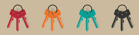 Keychain Icons - Colorful Vector Illustrations Set - Isolated On Beige Background