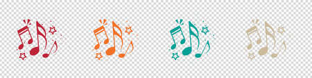 Music Notes Concept - Colorful Vector Illustrations Isolated On Transparent Background