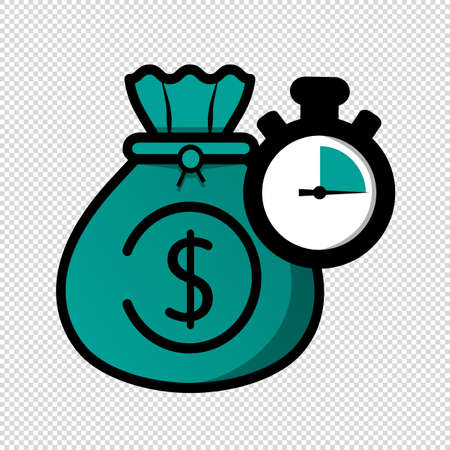 Time Is Money Concept - Vector Illustration Isolated On Transparent Background