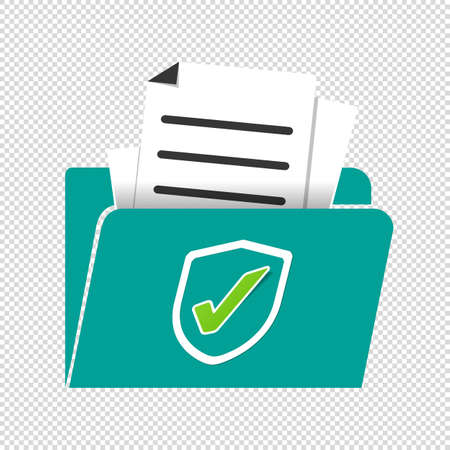 Document Protection Concept - Vector Illustration Isolated On Transparent Background