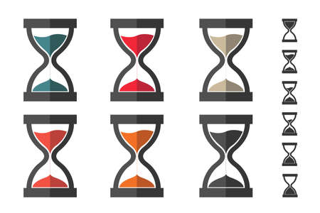 Hourglass, Sandglass Icon Set - Different Vector Illustrations - Isolated On White Background With Bonus Icons 向量圖像
