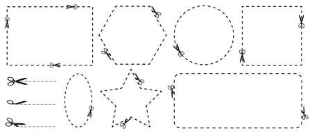 Scissor Coupon Border Set - Vector Illustrations Isolated On White Background 向量圖像