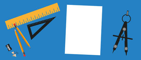 Cartoon Designer Workplace Concept - Vector Illustration Isolated On Blue Background