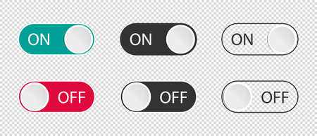 On And Off Toggle Switch Buttons - Vector Illustrations Set Isolated On Transparent Background