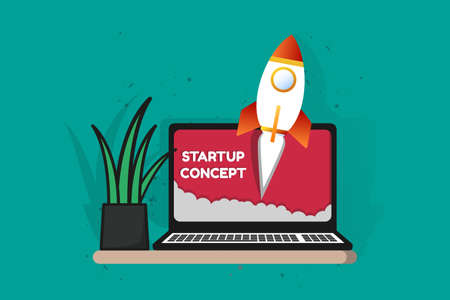 Startup Business Project Concept - Vector Illustration Isolated On Monochrome Background