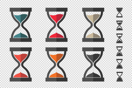 Hourglass, Sandglass Icon Set - Different Vector Illustrations - Isolated On Transparent Background With Bonus Icons