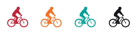 Cyclist Silhouette Icon Set - Vector Illustrations Isolated On White Background 向量圖像