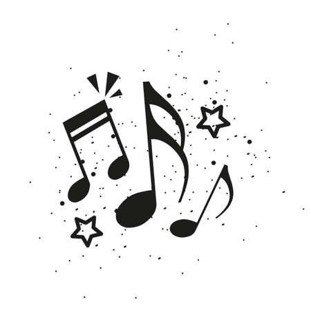 Music Notes Concept - Black Vector Illustration Isolated On White Background