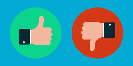 Thumbs Up And Down Concept - Vector Illustration Isolated On Monochrome Background