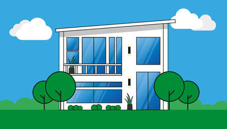 Modern White Property Design - Illustration With Trees, Plants, Sky And Clouds 版權商用圖片