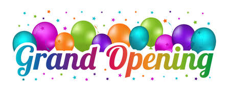 Grand Opening Banner - Colorful Illustration With Balloons And Confetti Stars Isolated On White Background