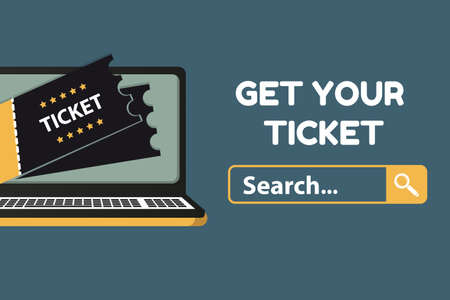 Get Your Ticket Concept - Vector Illustration Isolated On Blue Background 向量圖像