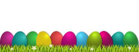Easter Concept Banner - Colorful Vector Illustration With Eggs And Grass - Isolated On White Background 向量圖像