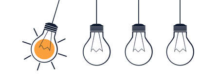 Lightbulbs Idea Strategy Concept - Vector Illustration Isolated On White Background 向量圖像