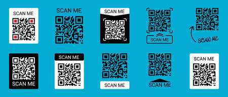 Mobile Smartphone QR Code Application Button With Scan Me Sign - Vector Illustrations Icon Set Isolated On Blue Background