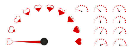 Love Gauge Meter - Vector Illustrations Set - Isolated On White Background 向量圖像
