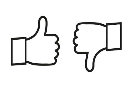 Thumbs Up And Down Icons - Vector Illustration Isolated On White Background 向量圖像