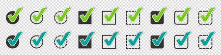 Different Checkbox Icon Set - Vector Illustrations - Isolated On Transparent Background