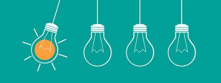 Lightbulbs Idea Strategy Concept - Vector Illustration Isolated On Monochrome Background 向量圖像