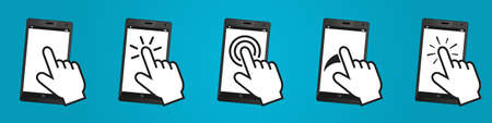 Different Gestures On Mobile Devices - Vector Illustration Set Isolated On Blue Gradient Background