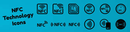 NFC Technology Icon Set - Vector Illustration - Isolated On Blue Gradient Background