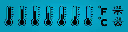 Thermometer Temperature Icon Set - Vector Illustrations - Isolated On Blue Gradient Background