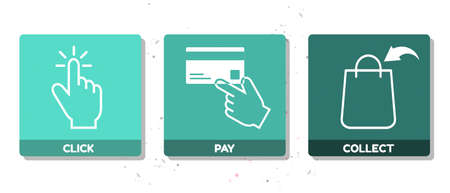 Click, Pay And Collect Concept Icons - Vector Illustrations Isolated On White Background 向量圖像