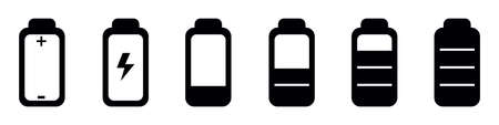 Battery Status Full, Half And Empty - Editable Vector Icons - Isolated On White Background 向量圖像