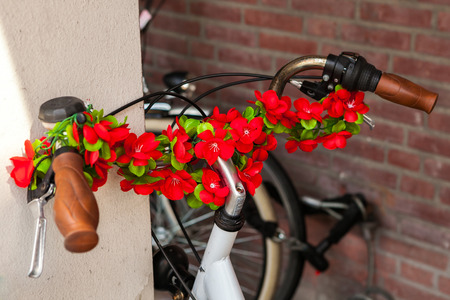 Bicycle decorated with flowers for the romantics in the Netherlands.
