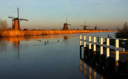kinderdijk in winter photo