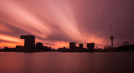 euromast: sunset in rotterdam