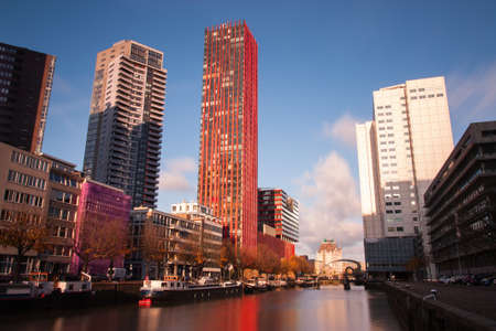 citytrip: architecture in centre of rotterdam at the wijnhaven