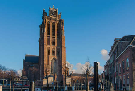 citytrip: Big church of historical dordrecht Stock Photo