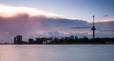 citytrip: skyline of rotterdam with euromast Editorial