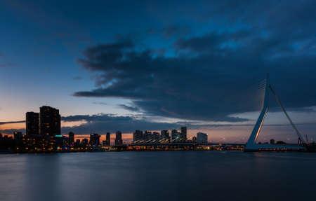 citytrip: skyline of rotterdam after sunset