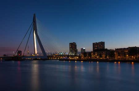 citytrip: skyline of rotterdam with erasmusbridge