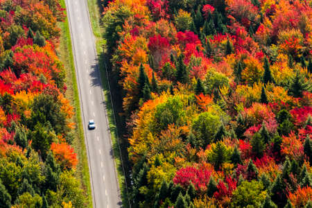 Photo arienne dune route de campagne en automne. - Aerial photo of a country road at fall. Quebec, Canada.