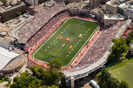 canadian football: Montreal, August , 2014. Aerial view of a Canadian Football League (CFL) at the John Percival Molson Stadium. The local team, the Alouettes battling for victory against the visiting Hamilton Tiger Cats. Editorial